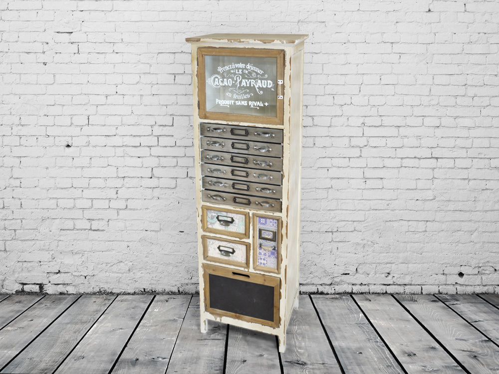 Cream vintage wooden multi drawer storage cabinet.