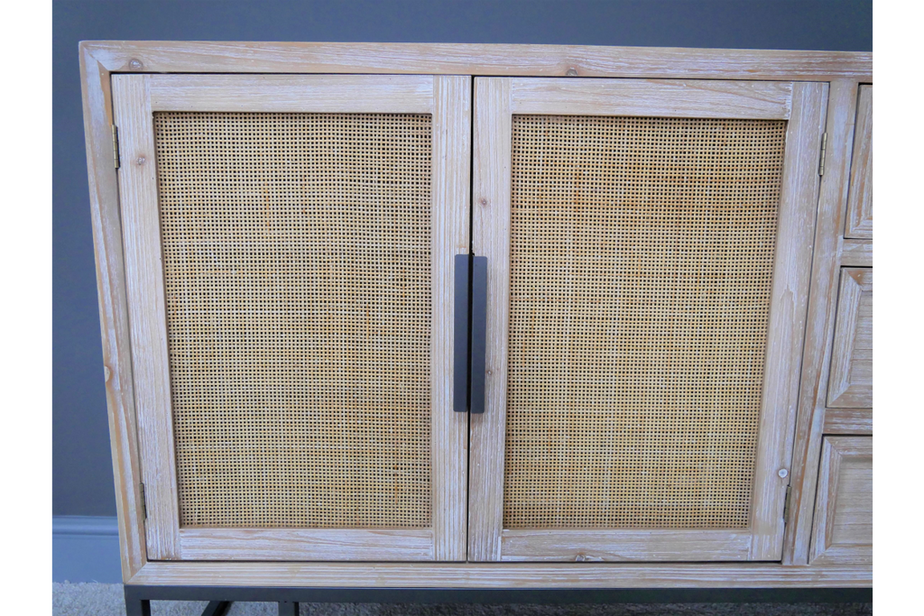 Wood & rattan sideboard/cabinet. Industrial boho style.