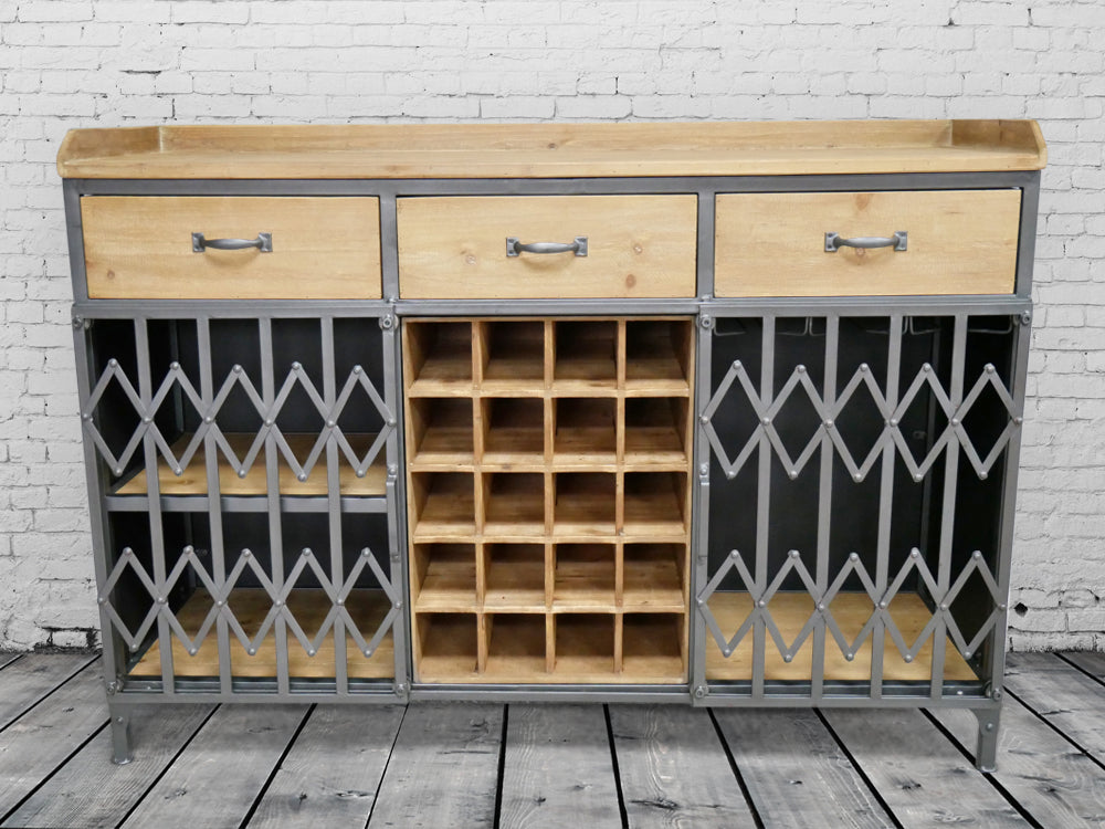Large wood & metal wine cabinet sideboard.