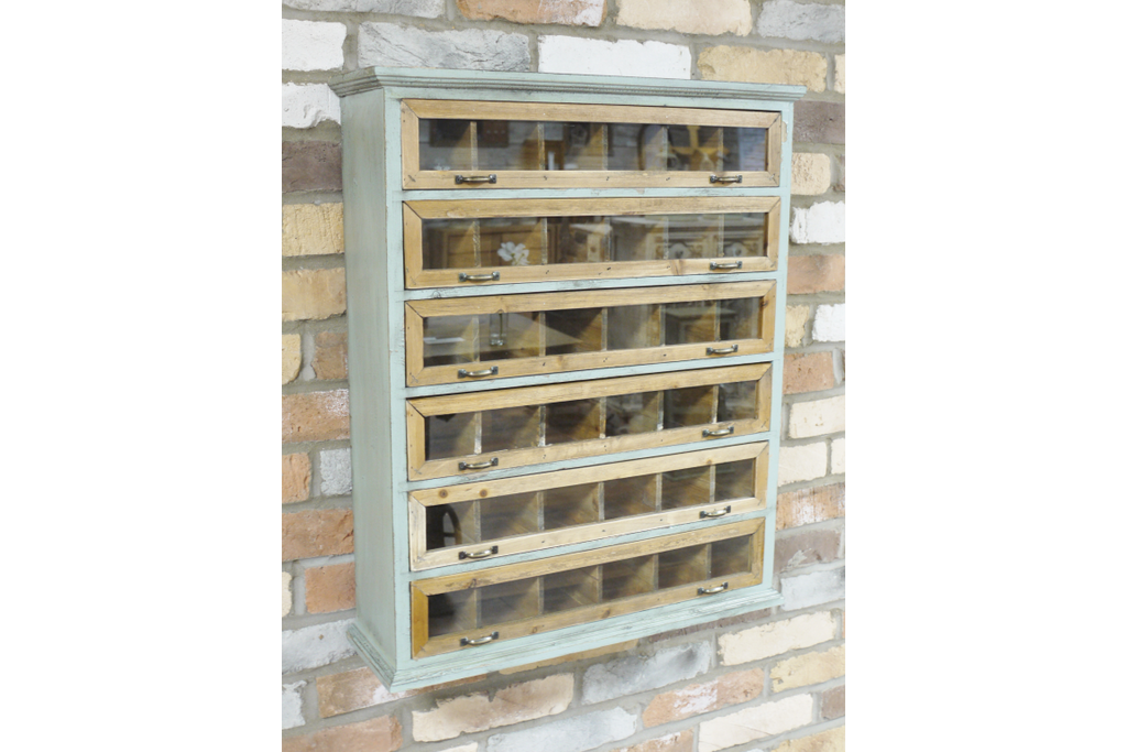 Painted Green vintage style wooden wall cabinet - Display unit.