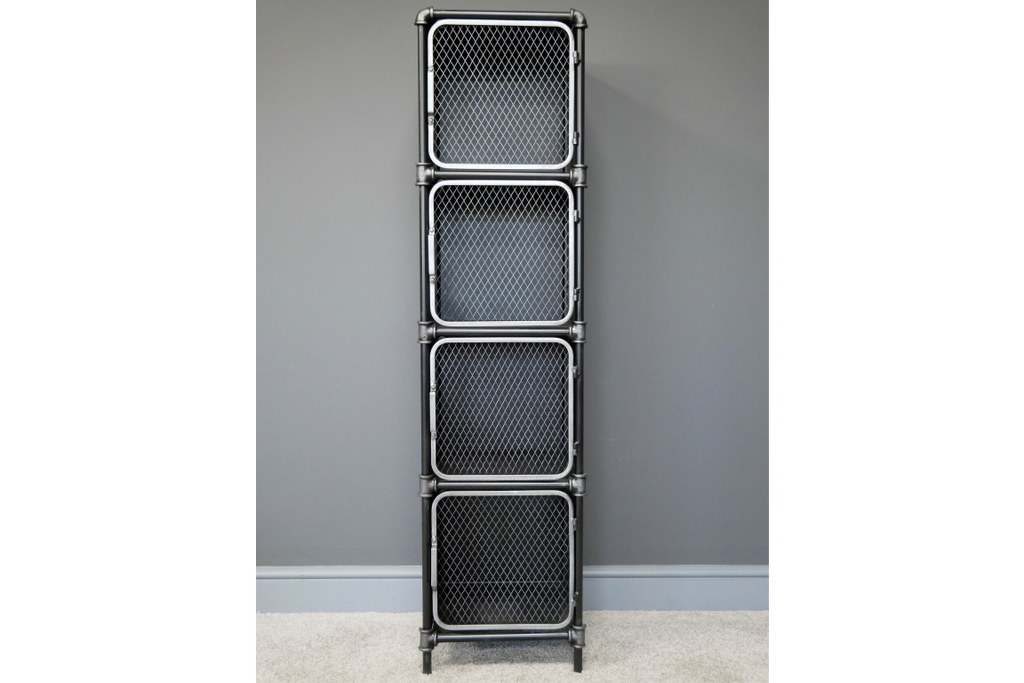 Tall black metal industrial retro storage locker