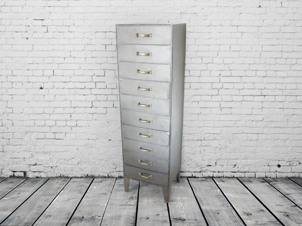 Tall industrial steel bank of 10 drawers.