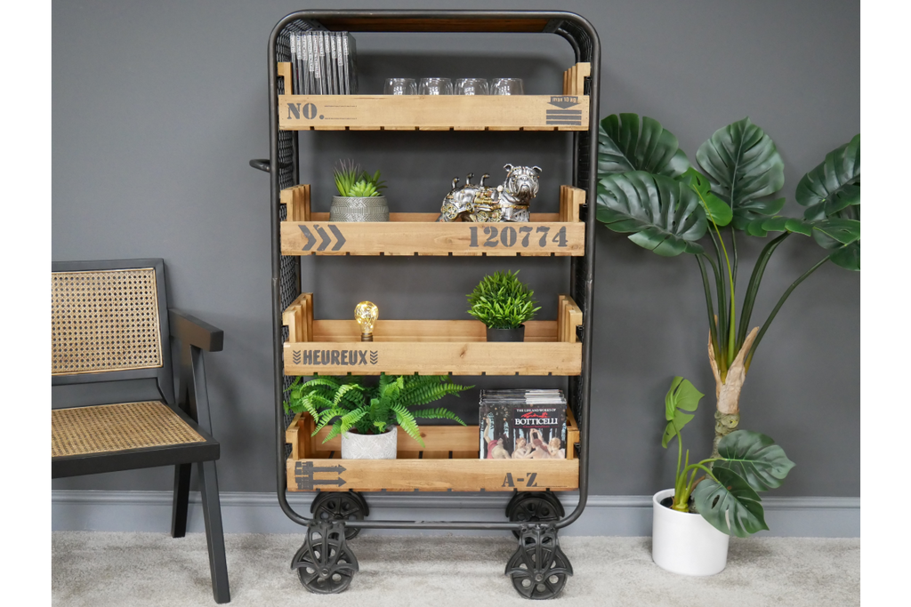 Large industrial retro open shelving storage cabinet