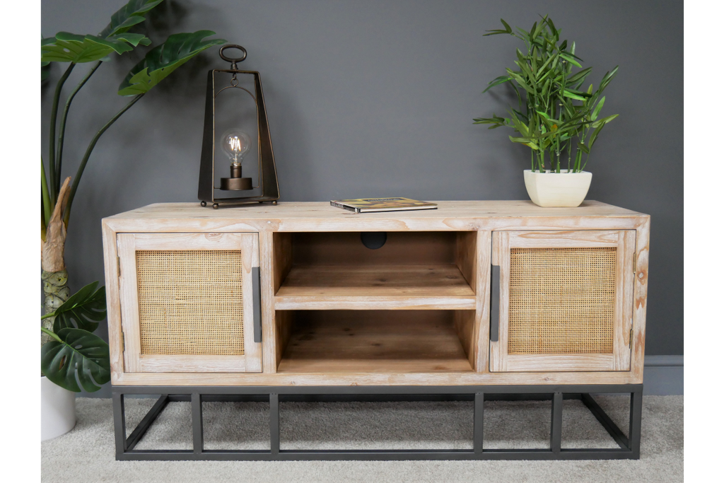 Wood & rattan tv cabinet. Industrial boho style.