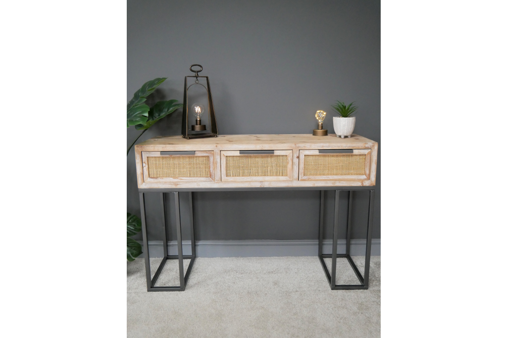 Boho wood, rattan & metal console table