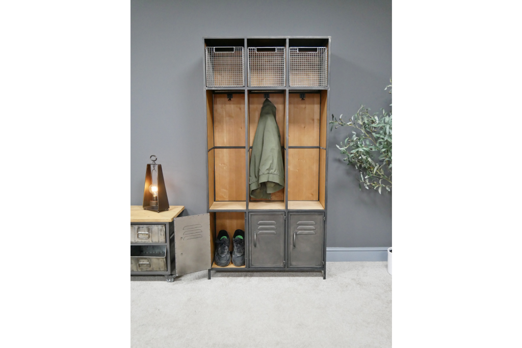 Tall Metal And Wood Industrial Hall Stand Locker Cabinet With Shoe Storage And Mesh Drawers.