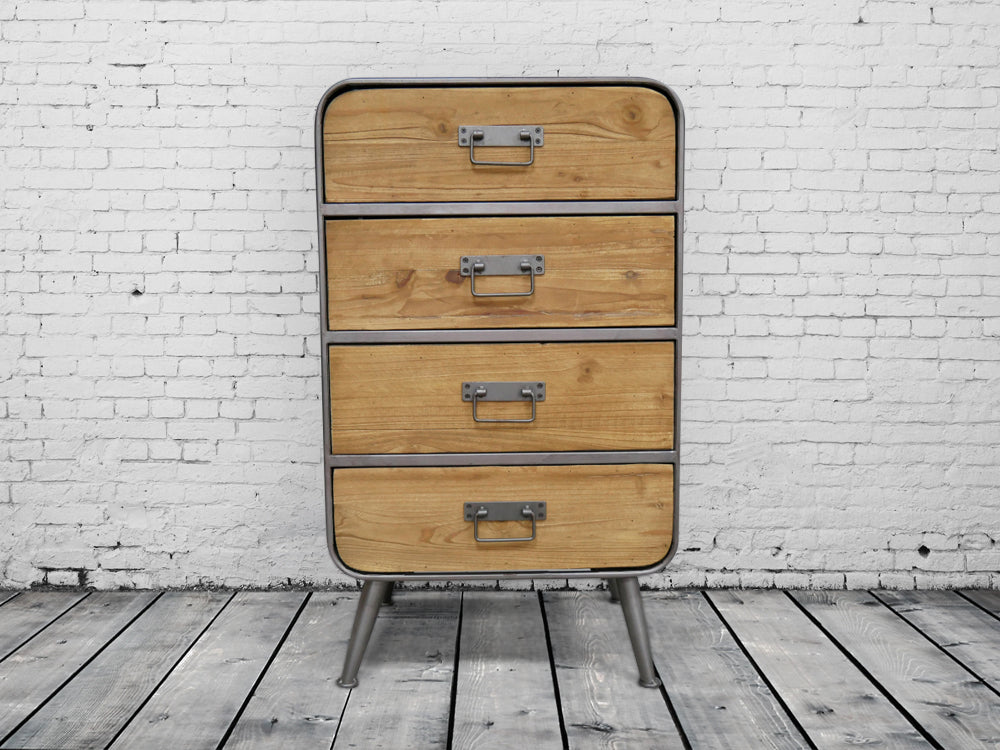 Industrial retro wood and metal cabinet - chest of drawers.