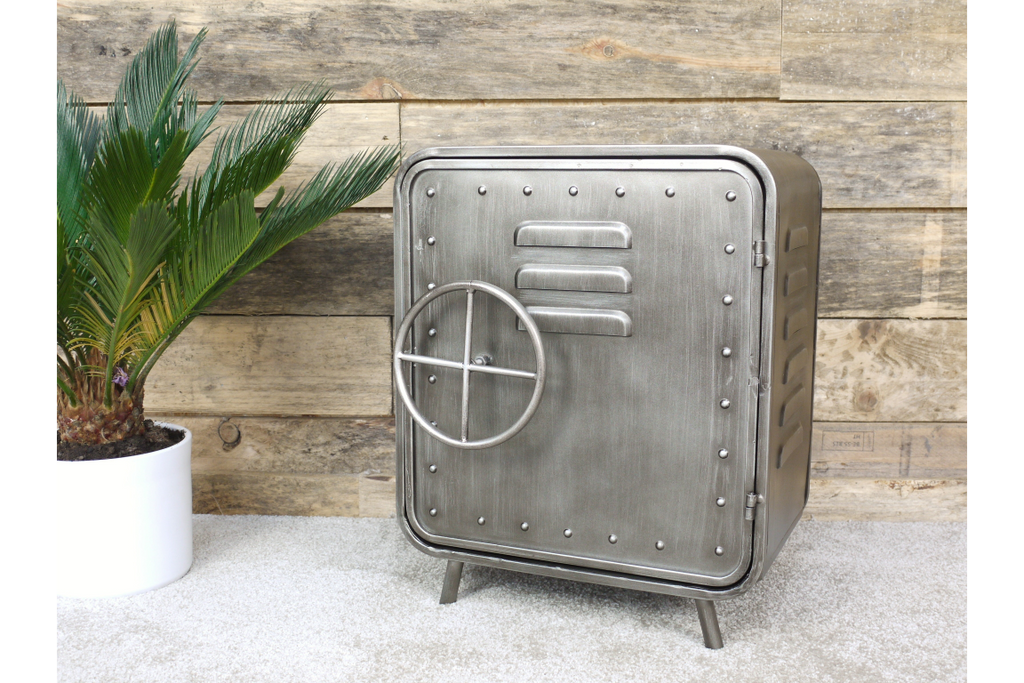 Pair of metal retro industrial bedside cabinets.