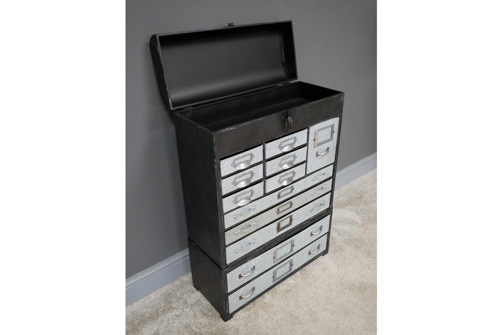 Large metal multi drawer industrial retro storage cabinet