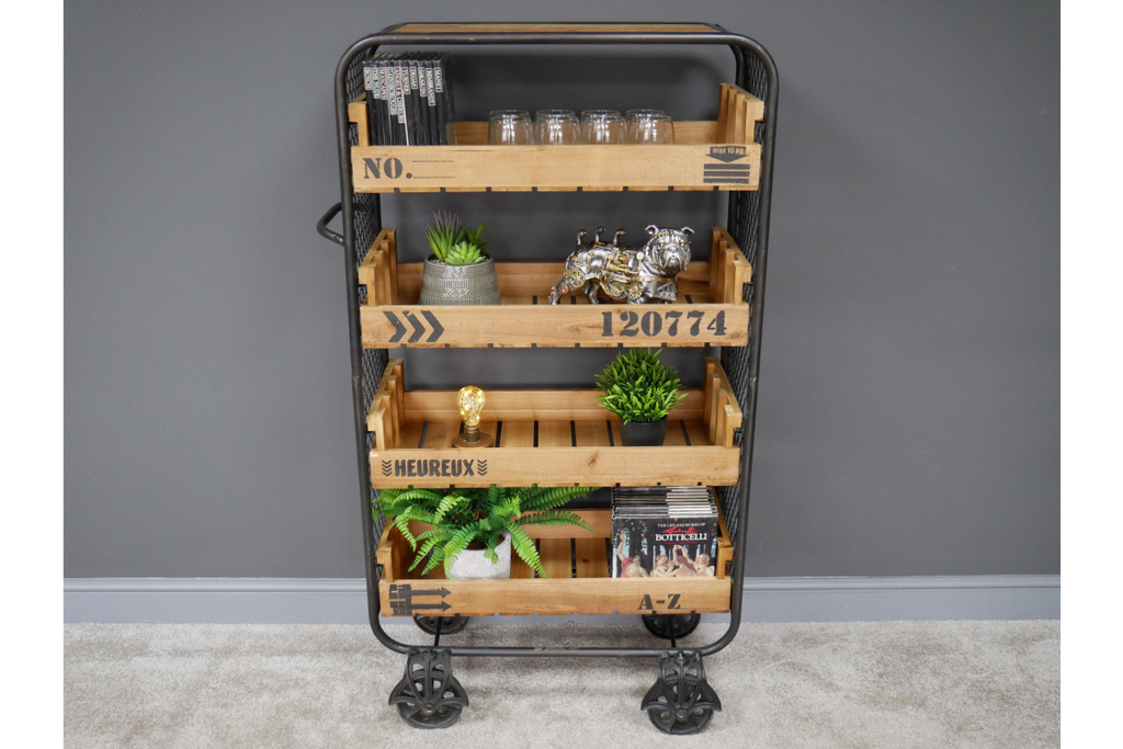 Retro open shelving storage cabinet