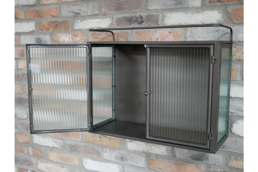 Metal & fluted ribbed glass industrial wall storage cabinet.