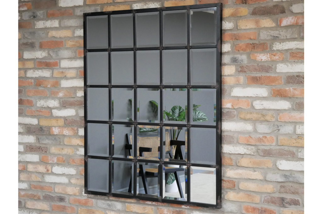 Large industrial metal window pane mirror