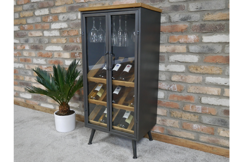 Glass Fronted Black Metal Industrial Retro Wine Rack