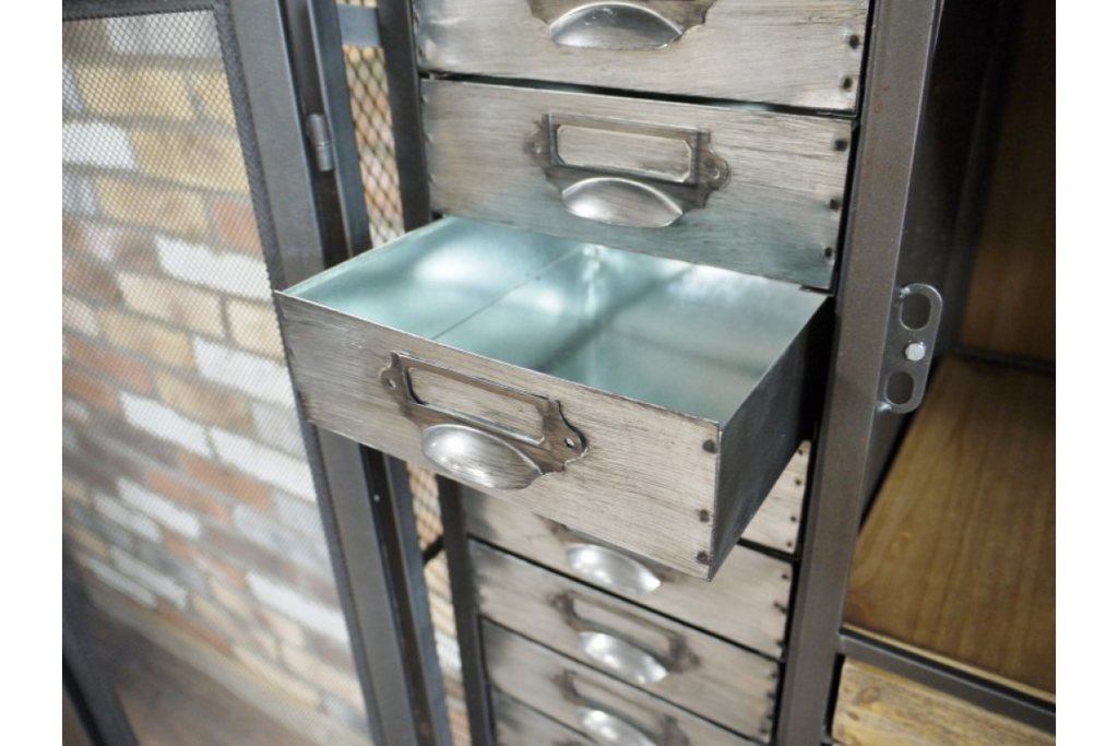 Large Industrial Retro Storage Display Cabinet. Metal & Wood.