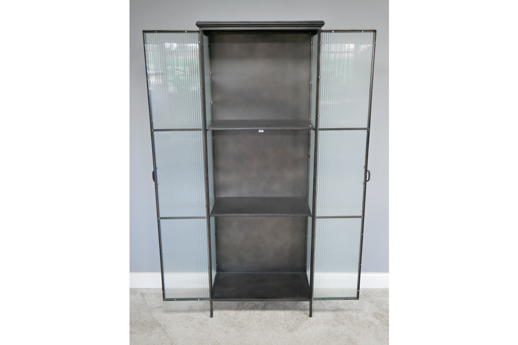 Tall metal and fluted ribbed glass storage display cabinet
