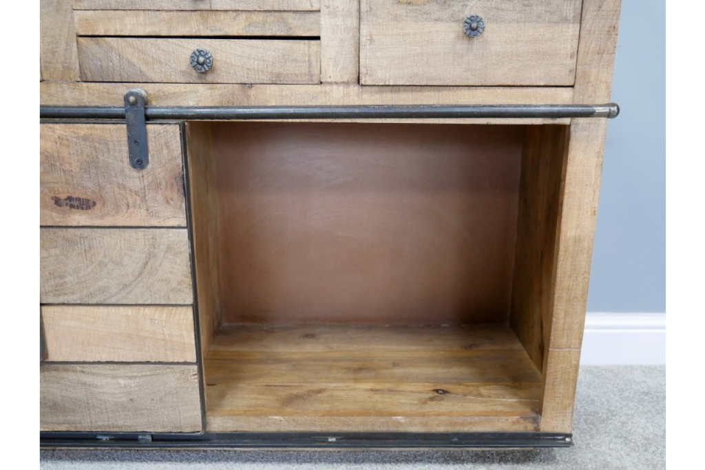 Large Solid Wood And Iron Sideboard Cabinet.