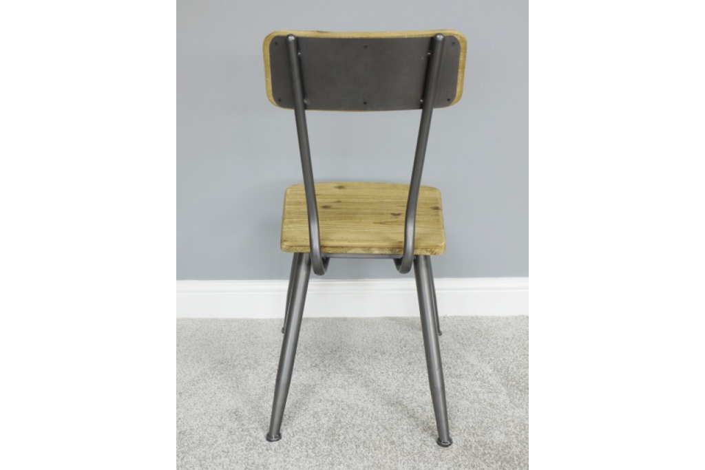 Pair of wood & metal retro industrial dining chairs.