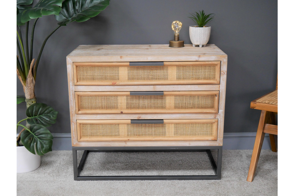 Wood & rattan chest of drawers. Industrial boho style.