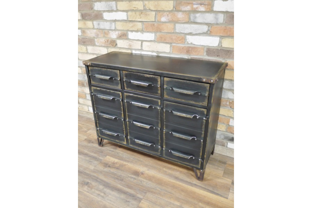 Black Industrial metal sideboard cabinet.
