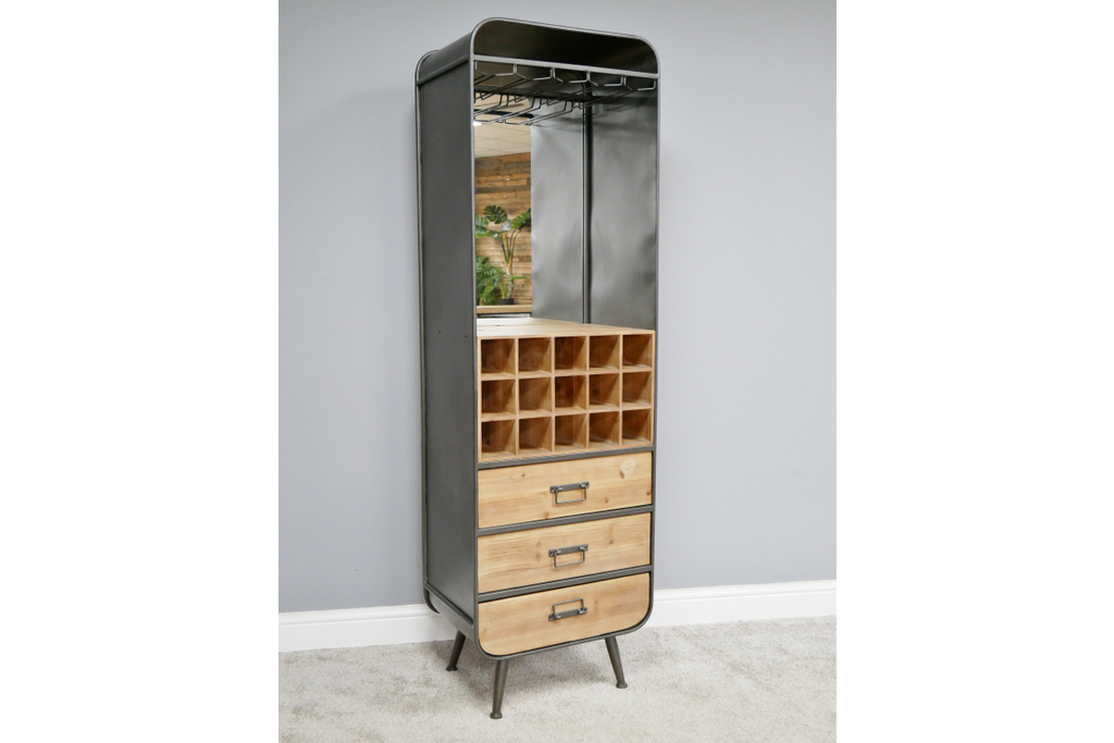 Industrial retro tall metal wine cabinet with mirrored back.