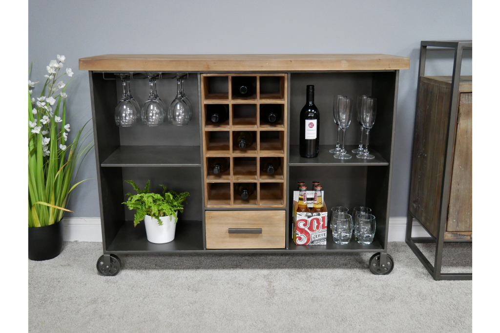 Industrial metal wine cabinet sideboard.