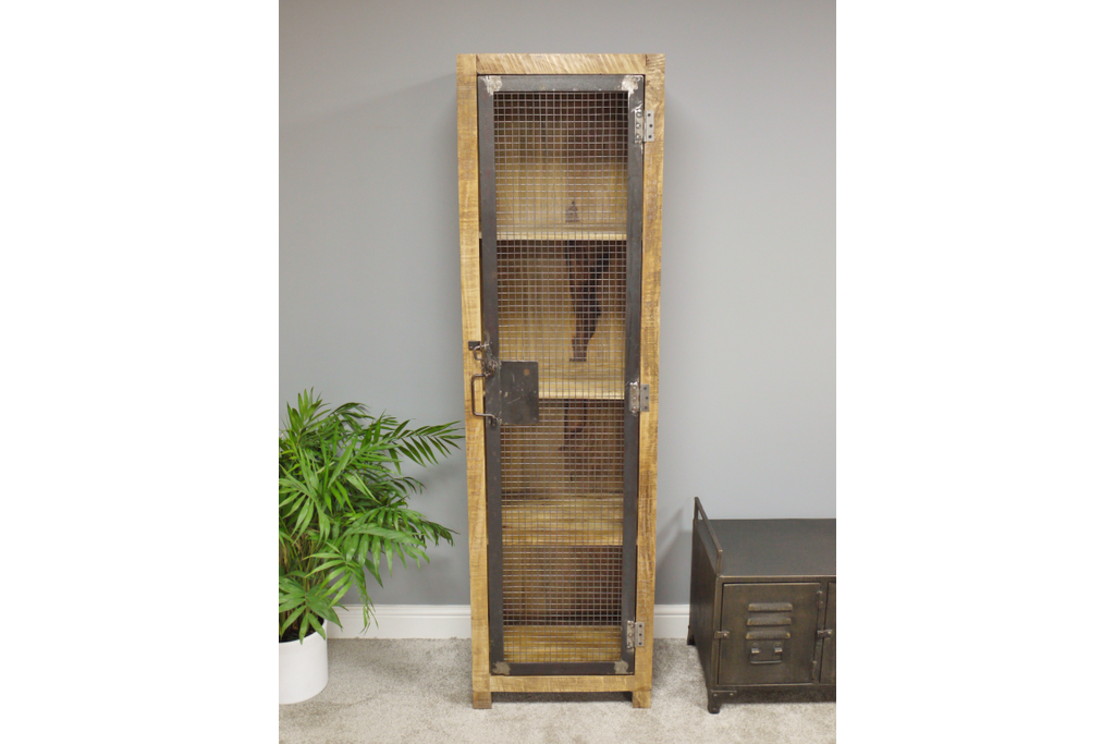 Tall mesh fronted wood & metal storage locker cabinet.