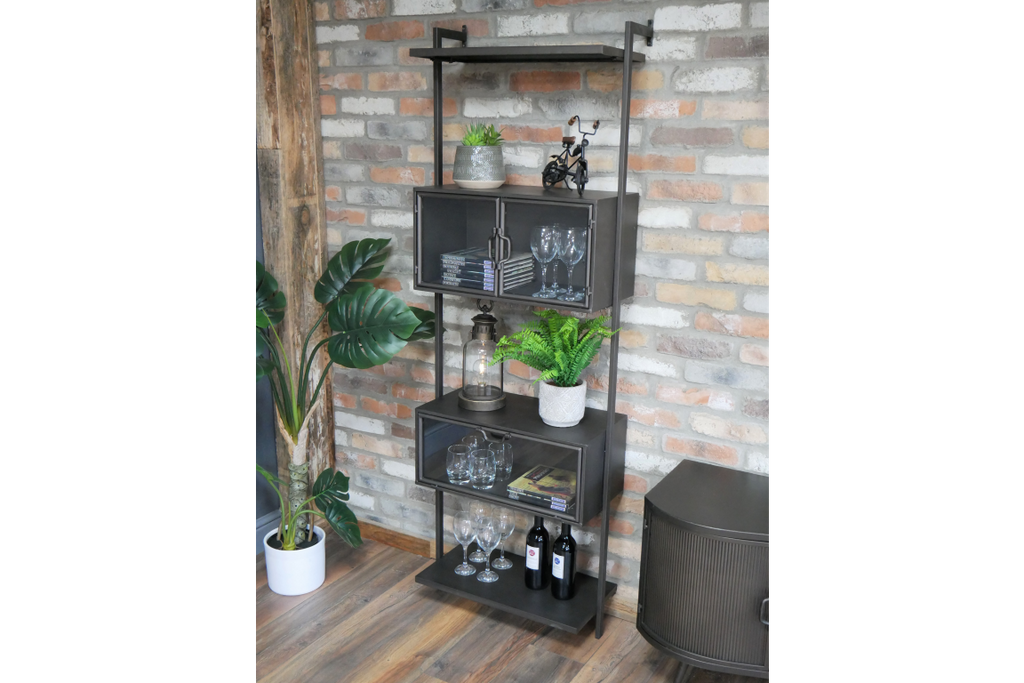 Industrial metal wall shelving display cabinet