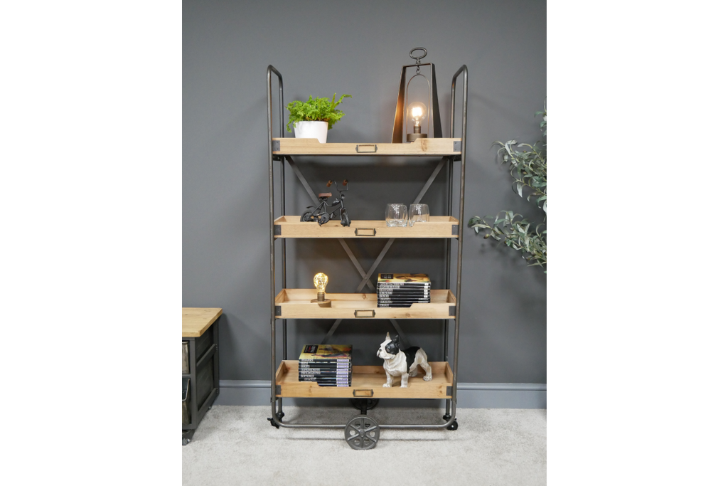 Tall Freestanding Four Tier Industrial Metal And Wood Shelving Storage Unit On Castors.