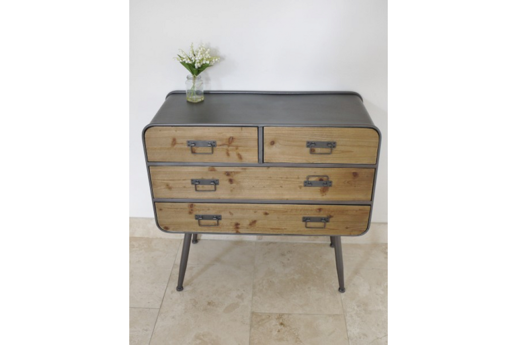 Industrial retro chest of drawers- cabinet. Metal and wood.