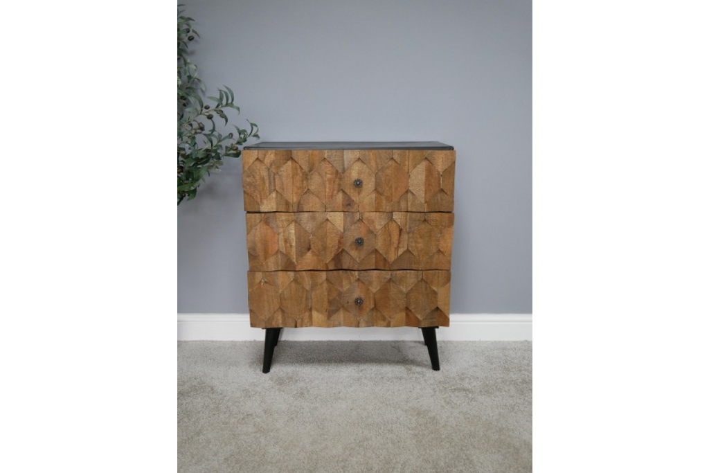 Wood fronted chest of drawers.