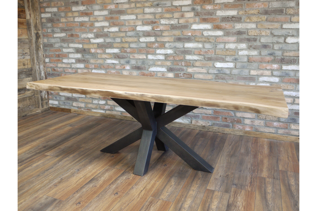 Large Living Edge Industrial Dining Table With Iron Base. Seats 6 to 8 persons.