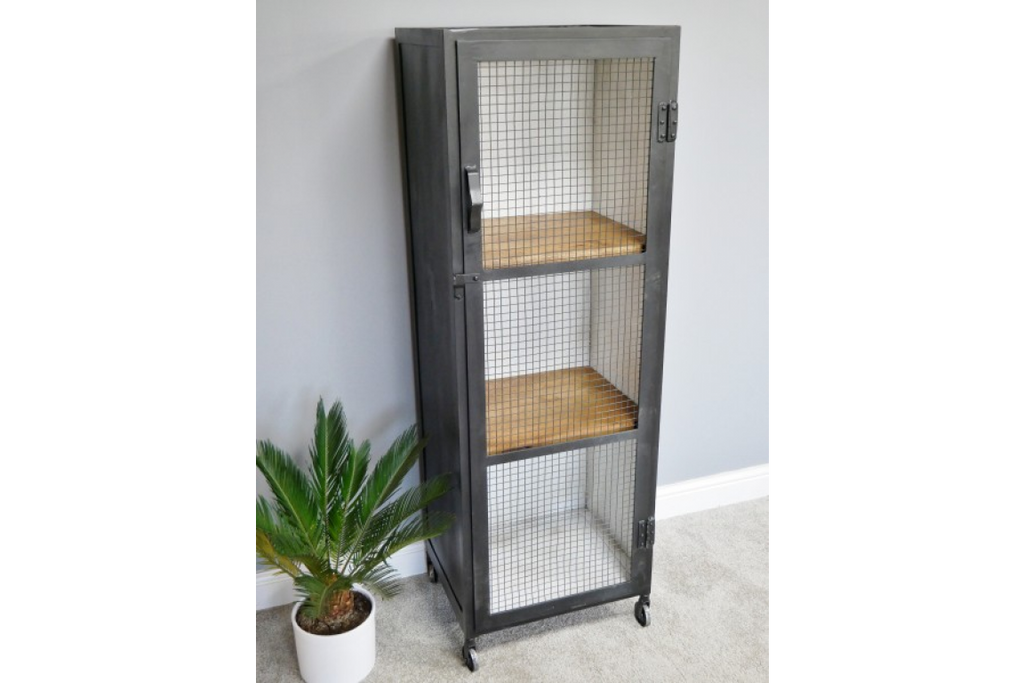 Tall Iron Industrial storage cabinet - locker. Mesh fronted.