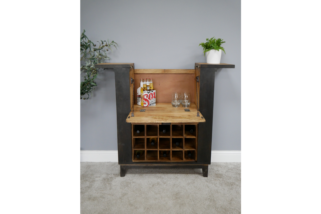 Large Wood & Iron Wine Cabinet - Bar unit