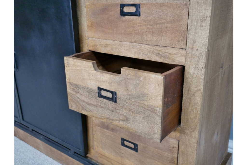 Large Solid Wood And Iron Sideboard / Storage Cabinet.