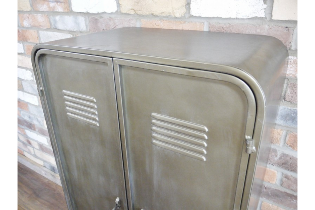 Metal industrial storage cabinet.