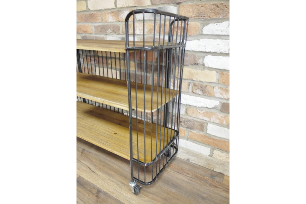 Industrial metal & wood storage cabinet - baker shelves.