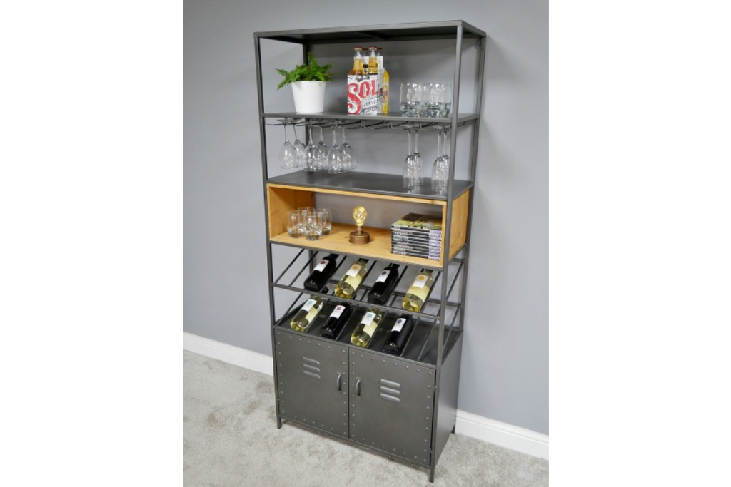 Tall Industrial Metal Wine Cabinet.