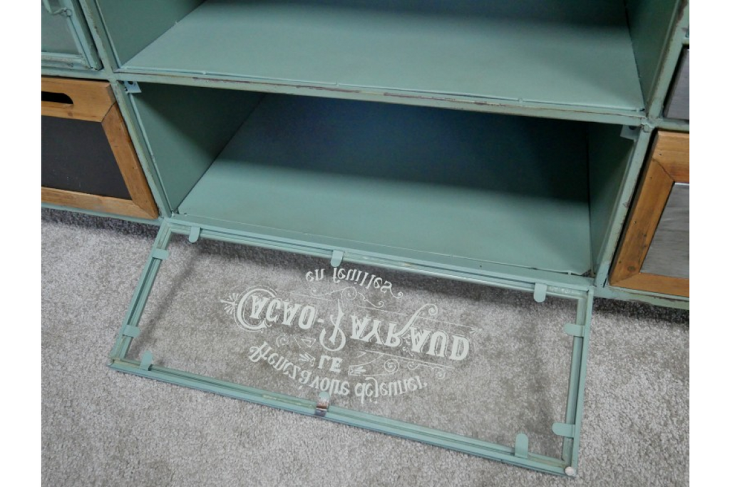 Industrial metal Tv cabinet. Green metal & wood.