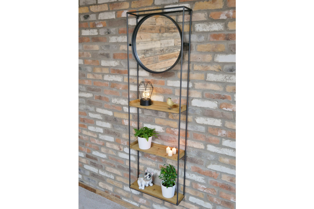 Tall metal and wood wall ladder display shelving unit with mirror.