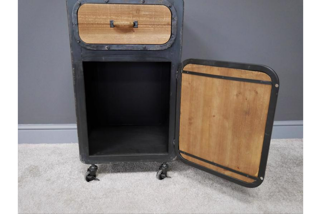 Pair of metal & wood industrial bedside cabinets.