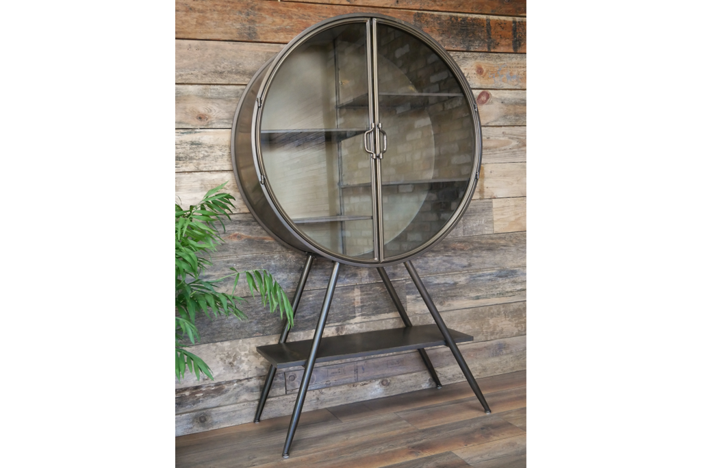 Tall Leggy Round Metal Glass Fronted Display Cabinet Bookshelf.