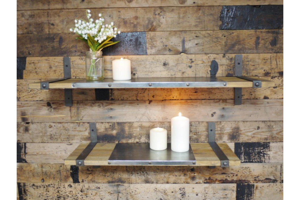 Pair of wood and metal industrial style wall shelves.