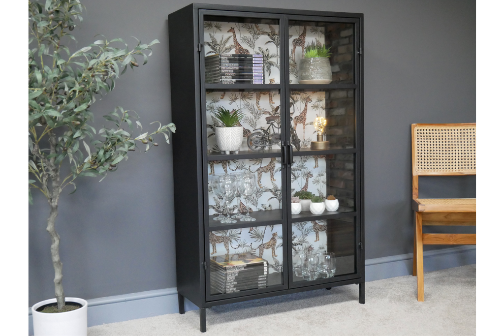 Large metal and glass fronted industrial style display cabinet.