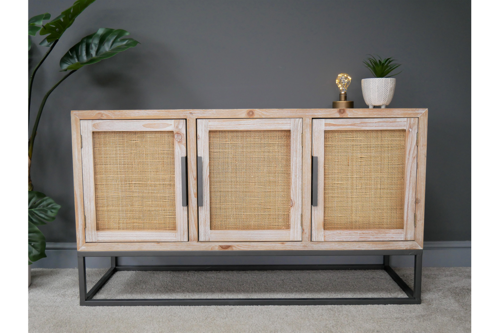 Wood & rattan low storage cabinet