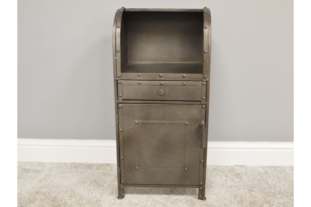 Pair of Industrial retro metal bedside cabinets.
