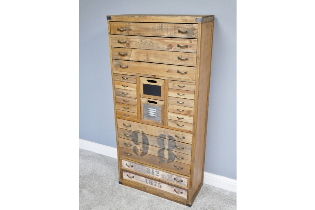 Tall Wooden Bank of Drawers - Storage cabinet. Industrial style.