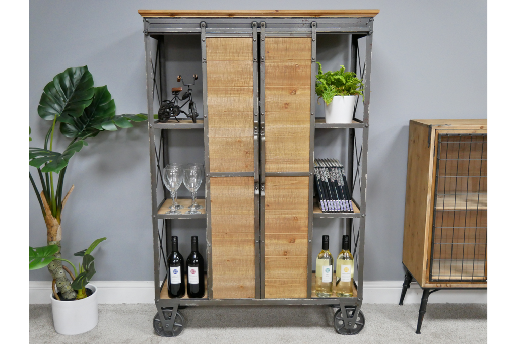 Large industrial retro sliding doors storage cabinet