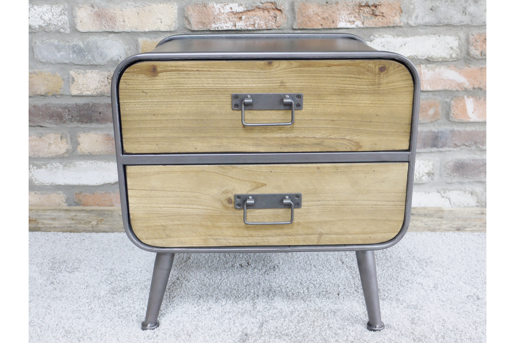 Industrial Metal & Wood Bedside Cabinet.