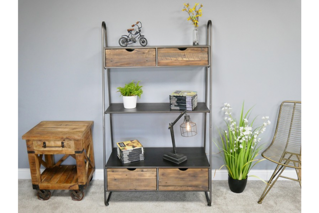 Large Industrial metal & wood shelving cabinet