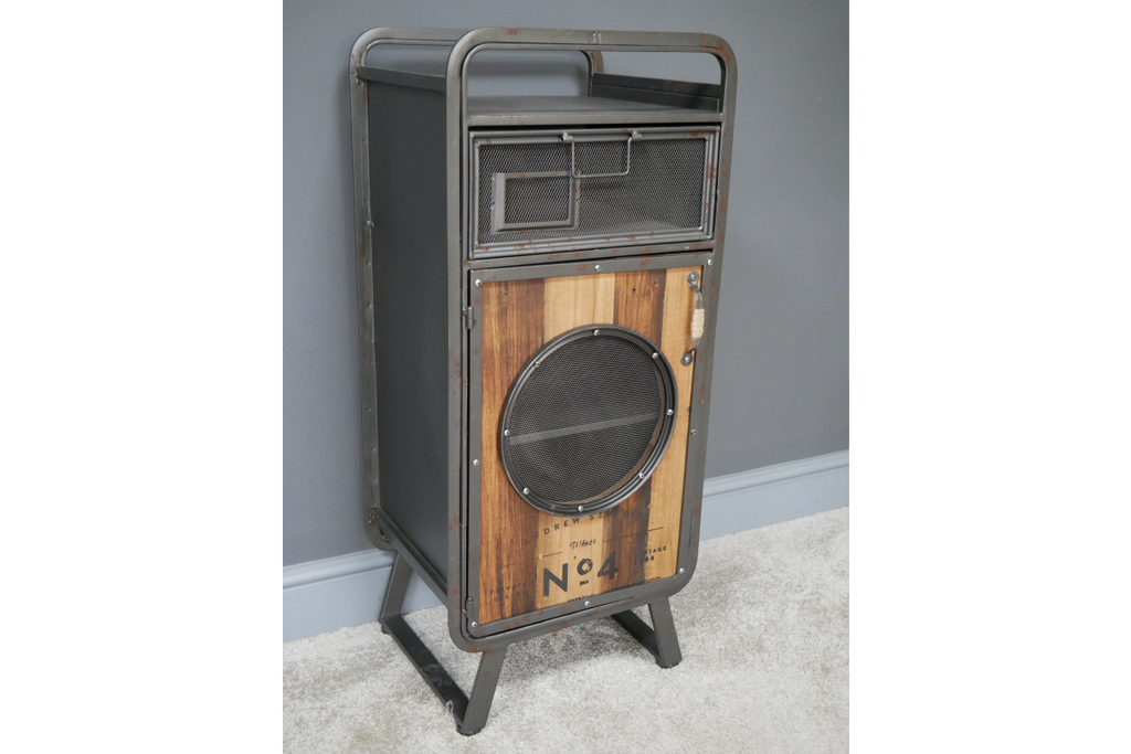 Pair of metal & wood industrial retro bedside cabinets.